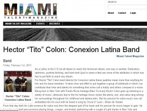 Debbie mentioned in this Miami Talent Magazine article about featured group - Conexion Latina!